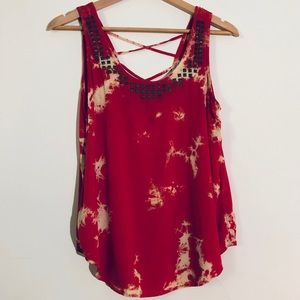 Forever 21 Red Tie Dye Effect Tank Top